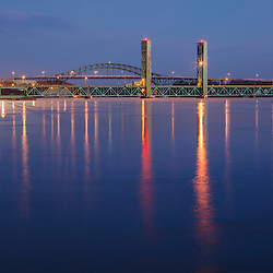The Sarah Mildred Long bridge and I-95 bridge span the Piscataqua River between Portsmouth, New Hampshire, and Kittery, Maine.