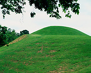 Emerald Mound built around 1400 A.D. by ancestors of the Natchez, at eight acres in size it is the second largest mound of its type in the United States, Natchez Trace Parkway, Mississippi.
