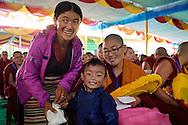 Namdol Phuntsok (best results at Geshema examination) from Kopan Nunnery (from Tibet) with relatives at Drepung Lachi in Mundgod, Karnataka, India on December 22, 2016.