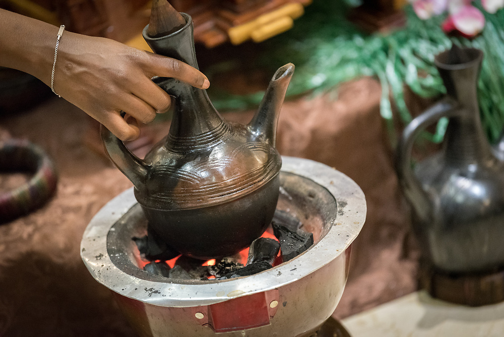23 October 2019, Addis Ababa, Ethiopia: Traditional Ehtiopian coffee is prepared. Gathered in Addis Ababa from 23-27 October 2019, Lutherans from across the globe join in consultation under the theme of 'We believe in the Holy Spirit: Global Perspectives on Lutheran Identities'. Hosted by the Ethiopian Evangelical Church Mekane Yesus, the consultation is the first phase of a study process on Lutheran identities.