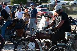 Clint Funderburg of Oregon ready to ride his 1916 Indian out from the Dodge City finish line during the Motorcycle Cannonball Race of the Century. Stage-8 from Wichita, KS to Dodge City, KS. USA. Saturday September 17, 2016. Photography ©2016 Michael Lichter.