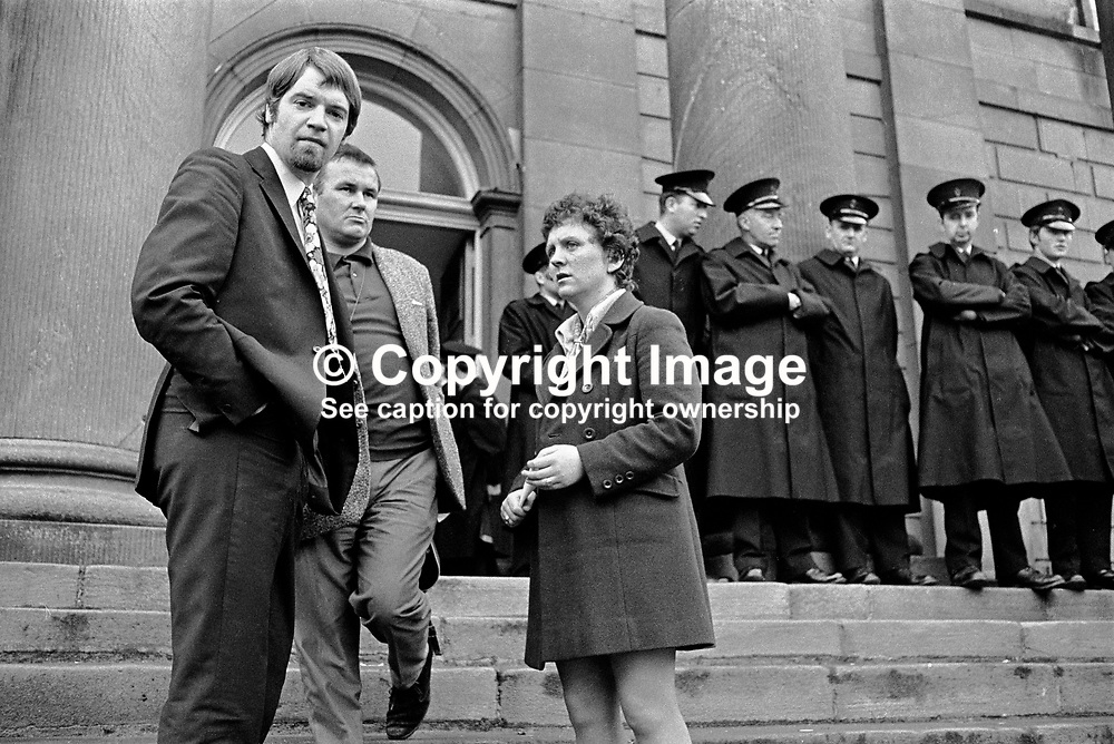 Don Anderson, BBC Belfast reporter (left) with Patsy Hill, BBC cameraman outside the Courthouse, Omagh, Co Tyrone, N Ireland, UK, where Bernadette Devlin, MP, Eamonn McCann, Derry, political activist, and Nell McCafferty (right) were fined £20 and given a three months suspended sentences as a result of disturbances at a local council meeting.  sentenced. 197005180173c.<br /> <br /> Copyright Image from Victor Patterson, Belfast, UK<br /> <br /> t: +44 28 9066 1296 (from Rep of Ireland 048 9066 1296)<br /> m: +44 7802 353836<br /> e: victorpattersonbelfast@gmail.com<br /> <br /> www.images4media.com<br /> <br /> Please see my full Terms and Conditions of Use at https://www.images4media.com/p/terms-conditions - it is IMPORTANT that you familiarise yourself with them.<br /> <br /> Images used online incur an additional cost. This cost should be agreed in writing in advance. Online images must be visibly watermarked i.e. © Victor Patterson or that of the named photographer within the body of the image. The original metadata must not be deleted from images used online.<br /> <br /> This image is only available for the use of the download recipient i.e. television station, newspaper, magazine, book publisher, etc, and must not be passed on to a third party. It is also downloaded on condition that each and every usage is notified within 7 days to victorpattersonbelfast@gmail.com.