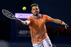 August 9, 2018 - Toronto, ON, U.S. - TORONTO, ON - AUGUST 09: Stan Wawrinka (SUI) returns the ball during his third round match of the Rogers Cup tennis tournament on August 9, 2018, at Aviva Centre in Toronto, ON, Canada. (Photograph by Julian Avram/Icon Sportswire) (Credit Image: © Julian Avram/Icon SMI via ZUMA Press)