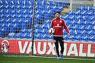 Aaron Ramsey of Wales  during Wales football team training session at the Cardiff city stadium  in Cardiff, South Wales  on Monday 12th October 2015. The team are training ahead of their final Euro 2016 qualifying against Andorra tomorrow.<br /> pic by  Andrew Orchard, Andrew Orchard sports photography.