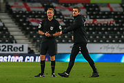 Referee Oliver Langford during the EFL Sky Bet Championship match between Derby County and Cardiff City at the Pride Park, Derby, England on 28 October 2020.