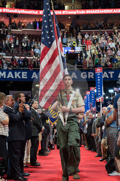 Boy Scouts troop the colors during the Republican National Convention July 20, 2016 in Cleveland, Ohio.
