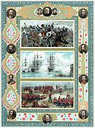 Crimean War 1853-1856: Battle of Inkerman (top) Bombardment of Sebastopol by the British fleet (centre). Egypt: Battle of Tel-el-Kebir, 1882. Oleograph c1887.