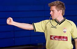 Referee Edo Javor shows basketball signs, on April 2, 2009, in Domzale, Slovenia. (Photo by Vid Ponikvar / Sportida)