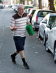 © Licensed to London News Pictures. 11/09/2015. London, UK. Labour leadership candidate JEREMY CORBYN leaving his home in Islington, north London a day before the announcement is made on the new party leader.  Photo credit: Ben Cawthra/LNP