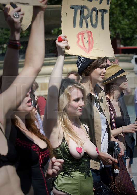 "© licensed to London News Pictures. 11/06/2011. London, UK. Thousands of Women take to the streets of London today (11/06/2011) to take part in Slutwalk. Slutwalk was started following remarks made by a Canadian police officer, who advised women ""to avoid dressing as sluts"" if they did not want to be harassed Please see special instructions for usage rates. Photo credit should read Ben Cawthra/LNP"