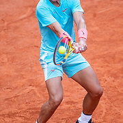 PARIS, FRANCE October 09.  Rafael Nadal of Spain in action against Diego Schwartzman of Argentina in the Semi Finals of the singles competition on Court Philippe-Chatrier during the French Open Tennis Tournament at Roland Garros on October 9th 2020 in Paris, France. (Photo by Tim Clayton/Corbis via Getty Images)