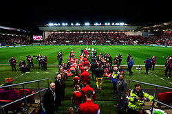 Bristol City and Manchester City walk out ahead of the Carabao Cup Semi Final Second Leg - Mandatory by-line: Dougie Allward/JMP - 23/01/2018 - FOOTBALL - Ashton Gate Stadium - Bristol, England - Bristol City v Manchester City - Carabao Cup Semi Final second leg