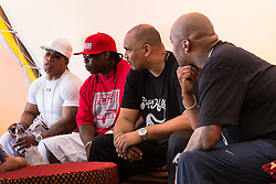 © Licensed to London News Pictures . 08/08/2015 . Siddington , UK . The Sugar Hill Gang back stage at The Rewind Festival of 1980s music , fashion and culture at Capesthorne Hall in Macclesfield . Photo credit: Joel Goodman/LNP