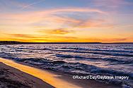 64795-03410 Lake Michigan shore at sunset Alger Co. MI