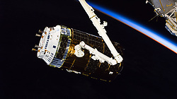 September 27, 2018 - Space - The H-II Transfer Vehicle-7 (HTV-7) from JAXA (Japan Aerospace Exploration Agency) is pictured after it was captured by the Canadarm2 operated by Expedition 56 Commander Drew Feustel. The HTV-7 took a four and a half day trip to the space station after launching Sept. 22, 2018, from the Tanegashima Space Center in Japan. (Credit Image: © NASA/ZUMA Wire/ZUMAPRESS.com)