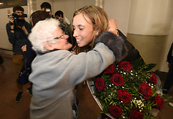 January 27, 2018 - Bruxelles, BELGIQUE - BRUSSELS, BELGIUM - JANUARY 27:  Belgian tennis player Elise Mertens with Oma Madelaine (semi finalist at the Australia Open) pictured during her come back in Brussels Airport Belgium on january 27, 2018 in Brussels, Belgium, 27/01/2018 (Credit Image: © Panoramic via ZUMA Press)