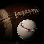 A studio shot of an American Football and a baseball. 17th October 2012. Photo Tim Clayton