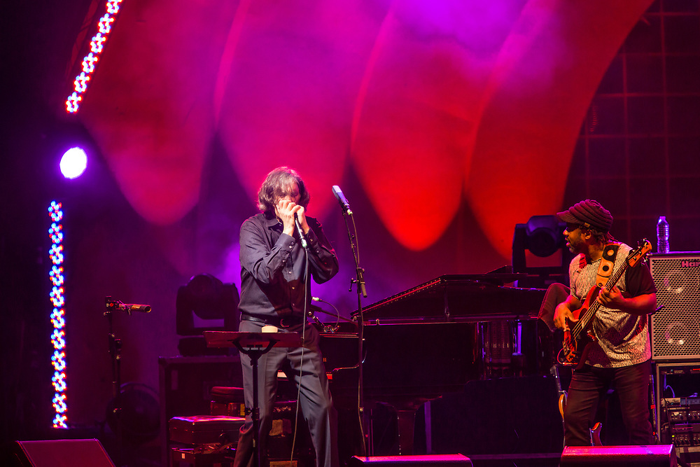 3 August 2017 – Brooklyn, NY. Singer Nellie McKay opened for Béla Fleck and the Flecktones to a large crowd at the BRIC Celebrate Brooklyn! Festival at the Prospect Park Bandshell. The Flecktones' Howard Levy on harmonica and VIctor Wooten on bass.