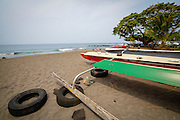 Outrigger Canoe fishing boat, Hookena, Big Island of Hawaii