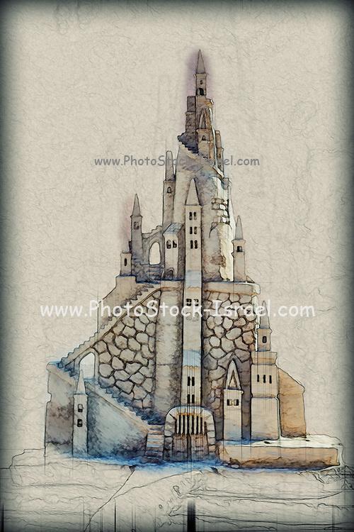 Digital drawing of Fantasy Castle