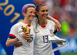 07-07-2019 FRA: Final USA - Netherlands, Lyon<br /> FIFA Women's World Cup France final match between United States of America and Netherlands at Parc Olympique Lyonnais. USA won 2-0 / Megan Rapinoe #15 of the United States, Alex Morgan #13 of the United States