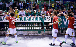 Players of Rudar celebrate with fans at 1st Round of Europe League football match between NK Rudar Velenje (Slovenia) and Trans Narva (Estonia), on July 9 2009, in Velenje, Slovenia. Rudar won 3:1 and qualified to 2nd Round. (Photo by Vid Ponikvar / Sportida)