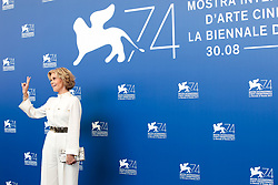 Actors Jane Fonda and Robert Redford attend a photocall during the 74th Venice Film Festival on September 1, 2017 at Venice Lido. Jane Fonda and Robert Redford will be honored with Golden Lions for Lifetime Achievement at the 74th Venice International Film Festival on Sept. 1 at the Palazzo del Cinema. 01 Sep 2017 Pictured: Jane Fonda. Photo credit: Fernanda Bareggi / MEGA TheMegaAgency.com +1 888 505 6342