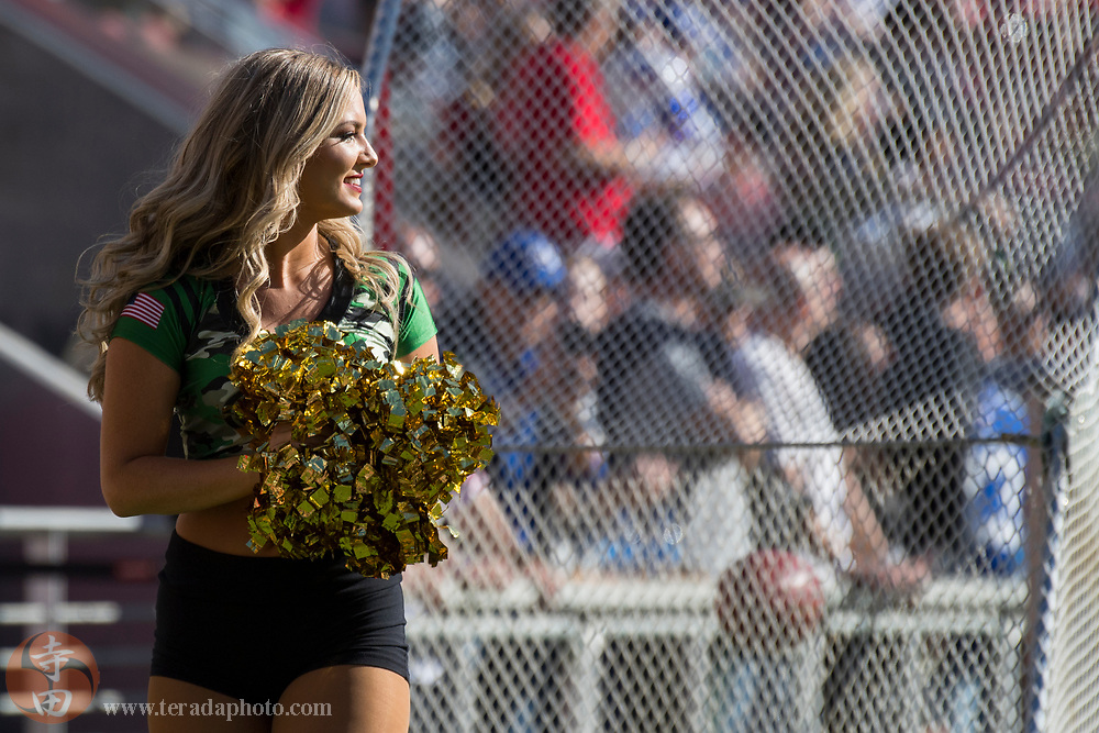 November 12, 2017; Santa Clara, CA, USA; San Francisco 49ers Gold Rush cheerleader Sophia during the first quarter against the New York Giants at Levi's Stadium. The 49ers defeated the Giants 31-21.