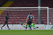 Tom Collins (41) of Scunthorpe United concedes a goal during the Pre-Season Friendly match between Scunthorpe United and Doncaster Rovers at Glanford Park, Scunthorpe, England on 15 August 2020.