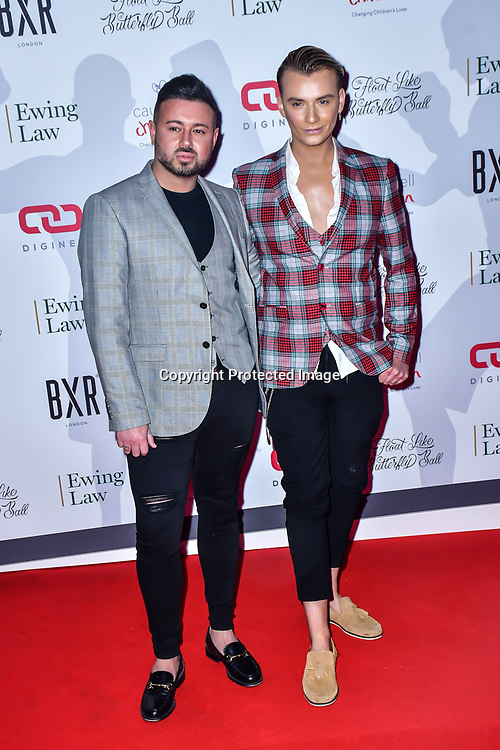 Dean Rowland and Harry Derbidge arrive at Float Like A Butterfly Ball for Caudwell Children Charity at Grosvenor House Hotel on 16 November 2019, London, UK.
