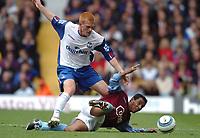 Credit: Back Page Images. Aston Villa v Crystal Palace, FA Premiership, 25/09/2004. Nolberto Solano (Aston Villa) and Ben Watson (Crystal Palace) battle for the ball.
