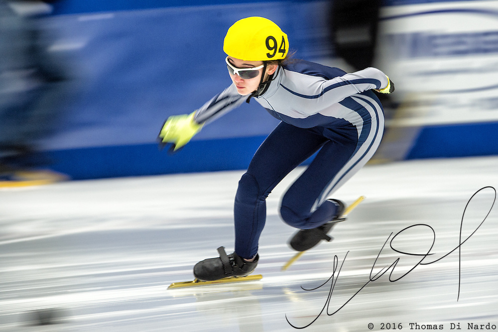 March 20, 2016 - Verona, WI - Una Willhoite, skater number 94 competes in US Speedskating Short Track Age Group Nationals and AmCup Final held at the Verona Ice Arena.