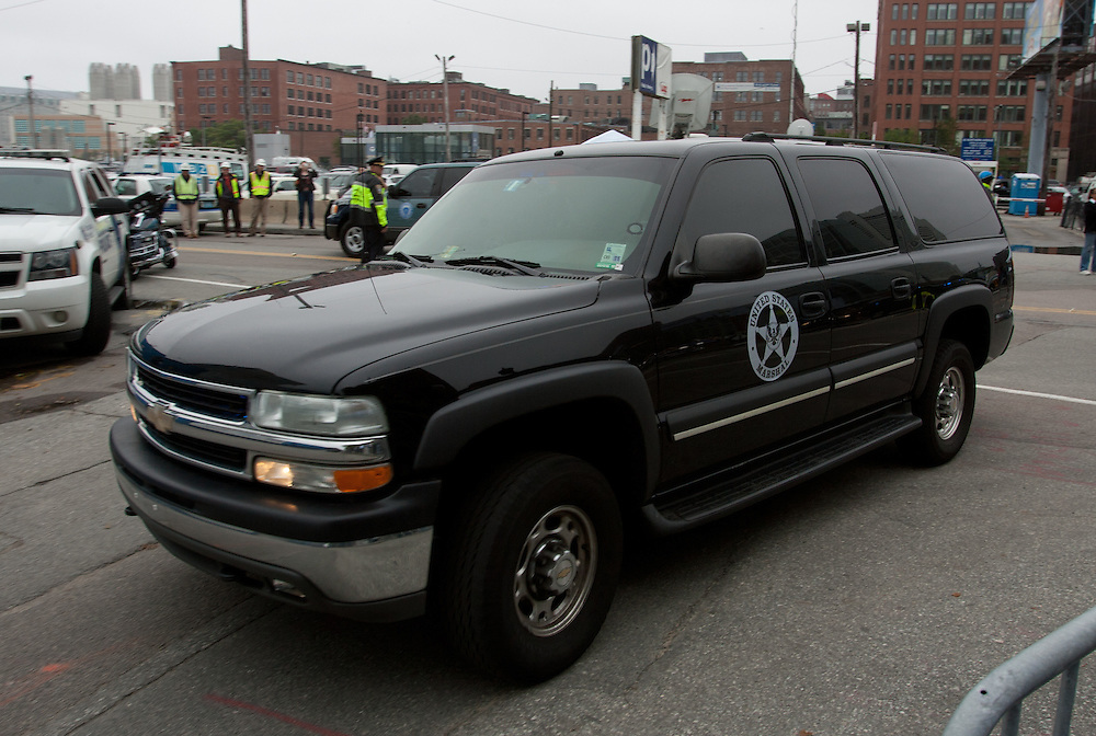 """Boston, MA 06/24/2011.A convoy of US Marshals vehicles carrying James """"Whitey"""" Bulger and his girlfriend Catherine Greig arrives at the Moakley federal courthouse in Boston on Friday afternoon..Alex Jones / www.alexjonesphoto.com"""