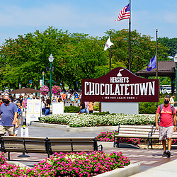 Hershey, PA, USA - September 4, 2020: Visitors arriving  at the entrance of Hersheypark, a popular attraction in Chocolatetown USA.