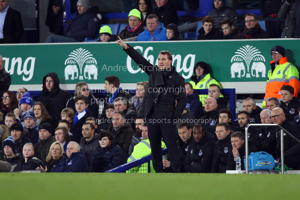 Liverpool Manager Brendan Rodgers makes his point. Barclays Premier league match, Everton v Liverpool at Goodison Park in Liverpool, Merseyside on Saturday 7th February 2015<br /> pic by Chris Stading, Andrew Orchard sports photography.