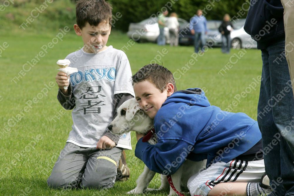 Cratloe Funday Doggie show 2007 was held at Cratloe GAA Pitch Sunday Sept 23rd in aid of Cratloe community Sprts hall.<br />PIctured is Edward & John Howe with their dog Patch (3yrs) frpm Deerpark.<br />Pic. Emma Jervis/ press 22