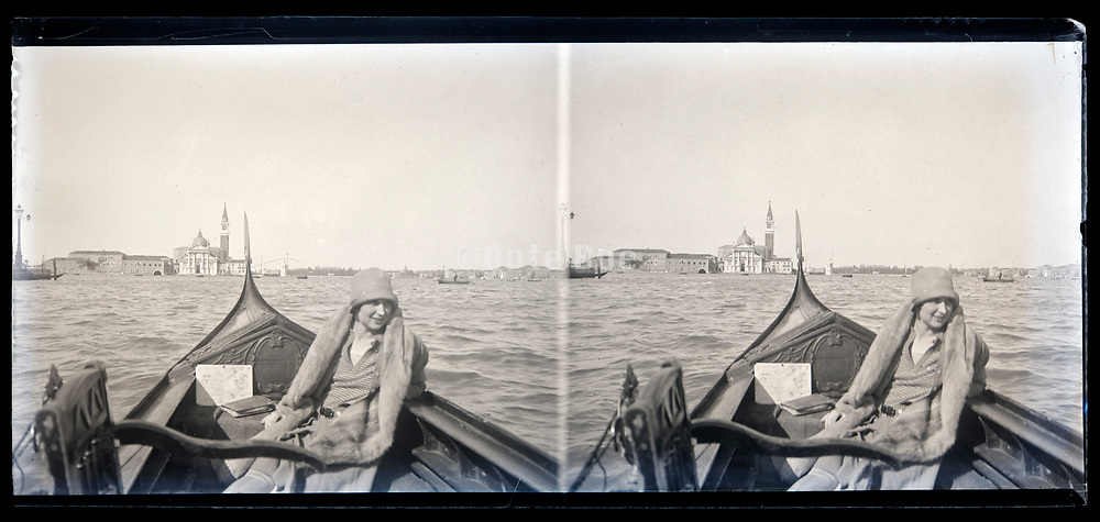 Venice with boat on the water circa early 1920s