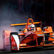 Jean-Eric Vergne locks up during First Practice of Round 10 of the FIA Formula E Championships in Battersea Park, London. June 27, 2015.<br /> <br /> Picture by Jack Megaw/Focus Images Ltd +44 7481 764811<br /> 27/06/2015