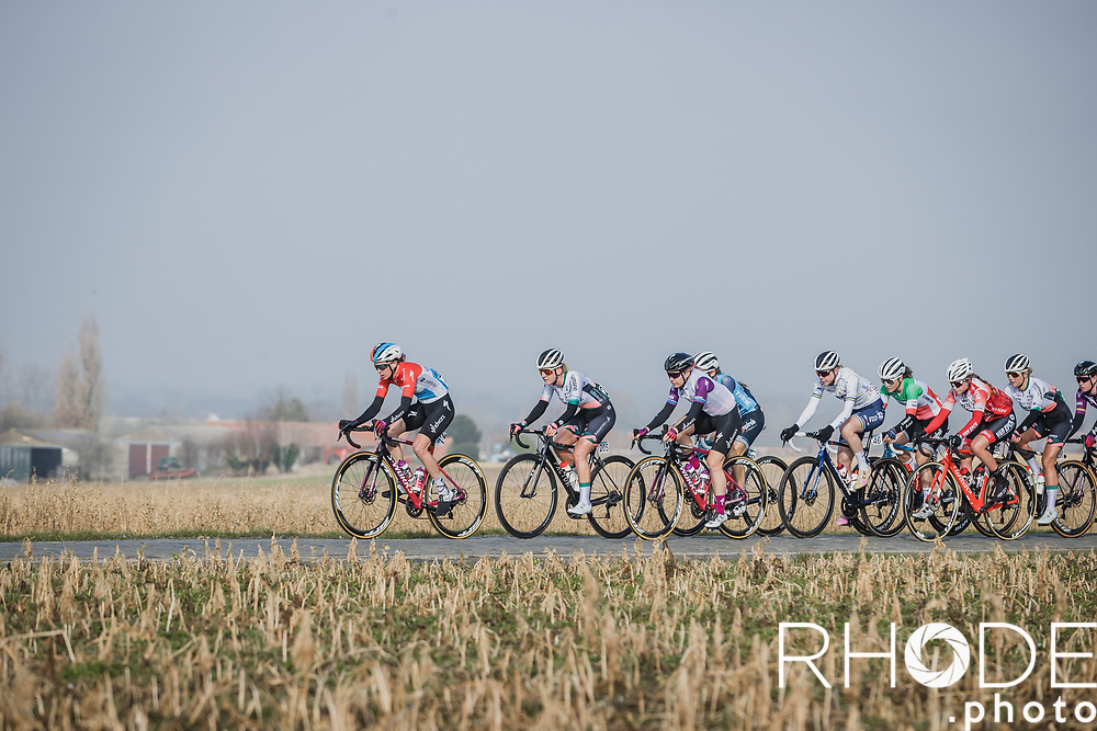 Christine Majerus (LUX/SD Worx) leading the peloton over a cobbled section<br /> <br /> 13th Women's Omloop Het Nieuwsblad 2021 <br /> 1 Day Race: Gent – Ninove 124km<br /> <br /> ©Rhode.Photo