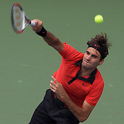 Roger Federer, Switzerland, in action against Devin Britton, USA, during the first round match at the US Open Tennis Tournament at Flushing Meadows, New York, USA, on Monday, August 31, 2009. Photo Tim Clayton..