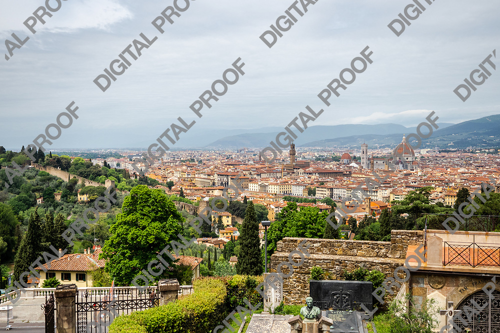 Florence Panoramic view from San Miniato al Monte Church during the day