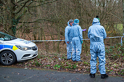 "© Licensed to London News Pictures. 07/12/2019. Gerrards Cross, UK. Forensic investigators look over one of two areas as London's Metropolitan Police Service searches woodland in Gerrards Cross, Buckinghamshire. Police have been in the area conducting operations since Thursday 5th December 2019 and are searching two areas on Hedgerley Lane. In a press statement a Metropolitan Police spokesperson said ""Officers are currently in the Gerrards Cross area of Buckinghamshire as part of an ongoing investigation.<br /> ""We are not prepared to discuss further for operational reasons.""<br /> Photo credit: Peter Manning/LNP"