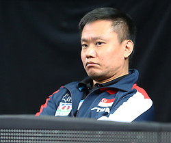 February 23, 2018 - London, England, United Kingdom - An Lin HAO Coach of Singapore.during 2018 International Table Tennis Federation World Cup match between Tin-Tin HO of England  against Tianwei FENG of Singapore  at Copper Box Arena, London  England on 23 Feb 2018. (Credit Image: © Kieran Galvin/NurPhoto via ZUMA Press)