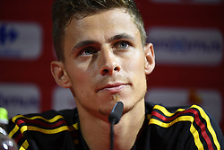 May 23, 2018 - Tubize, Belgique - TUBIZE, BELGIUM - MAY 23 : Thorgan Hazard talks to the journalists during a press conference of the Red Devils at the national training center before a friendly game against Portugal on May 23, 2018 in Tubize, Belgium, 23/05/2018 (Credit Image: © Panoramic via ZUMA Press)