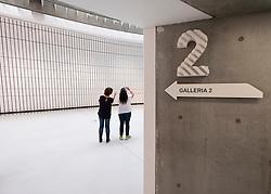 Interior of MAXXI National Centre of Contemporary Arts designed by Zaha Hadid in Rome, Italy