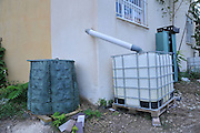 Water shortage. Household waste water is collected and reused for irrigation