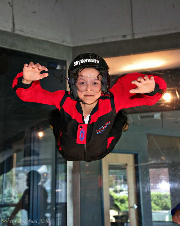 """""""Skydiving"""" in the wind tunnel, Sky Ventures, Nashua, New Hampshire."""