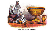 The Brazen Laver From the book ' Pictorial Description Of The Tabernacle in the Wilderness: Its Rites and Ceremonies ' A detailed description and pictorial guide of the Tabernacle as described in the Old Testament book of Exodus in the Bible, containing many colored illustrated pictures. by John Dilworth. Published by The Sunday School Union, London in 1878