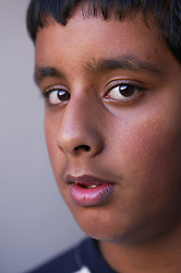 Portrait of a boy looking thoughtful,