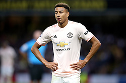 """Manchester United's Jesse Lingard during the Premier League match at Vicarage Road, Watford PRESS ASSOCIATION Photo. Picture date: Saturday September 15, 2018. See PA story SOCCER Watford. Photo credit should read: Nigel French/PA Wire. RESTRICTIONS: EDITORIAL USE ONLY No use with unauthorised audio, video, data, fixture lists, club/league logos or """"live"""" services. Online in-match use limited to 120 images, no video emulation. No use in betting, games or single club/league/player publications."""